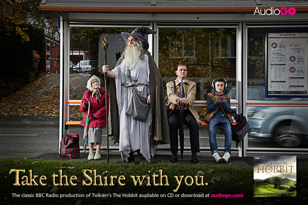 Posters. Concept. Art Direction. Copy.    To help sell the re-relased Hobbit audiobook, we created an arresting visual to express the immersive experience of listening to an audiobook.   Commissioned at Chosen.  chosenagency.co.uk