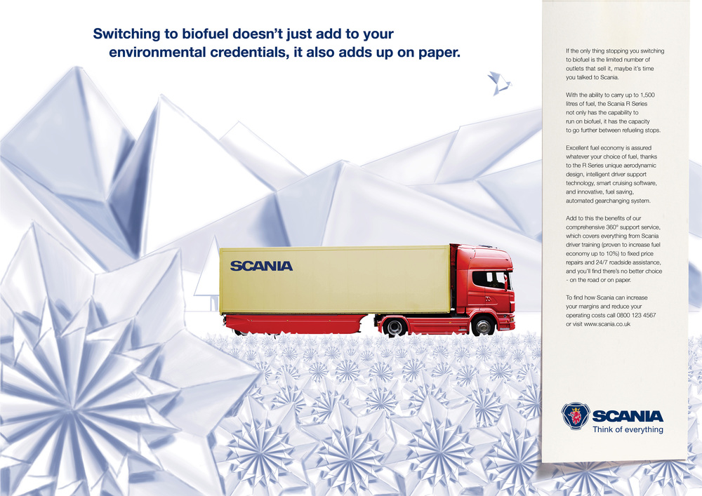 Press advertising. Concept. Design. Art direction.    Managers don't buy trucks on looks. That's why we created an original solution which assures the right people that a Scania is just as great on paper.   Commissioned at Connect.  connect-group.com