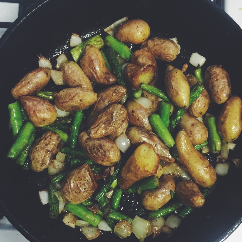 cooking veggies in skillet
