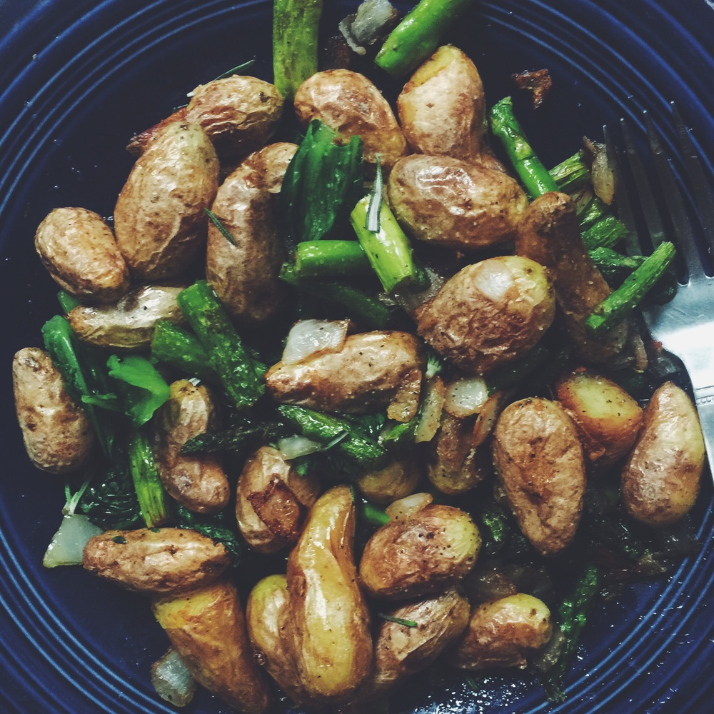 fingerling potatoes + romaine + asparagus + onion