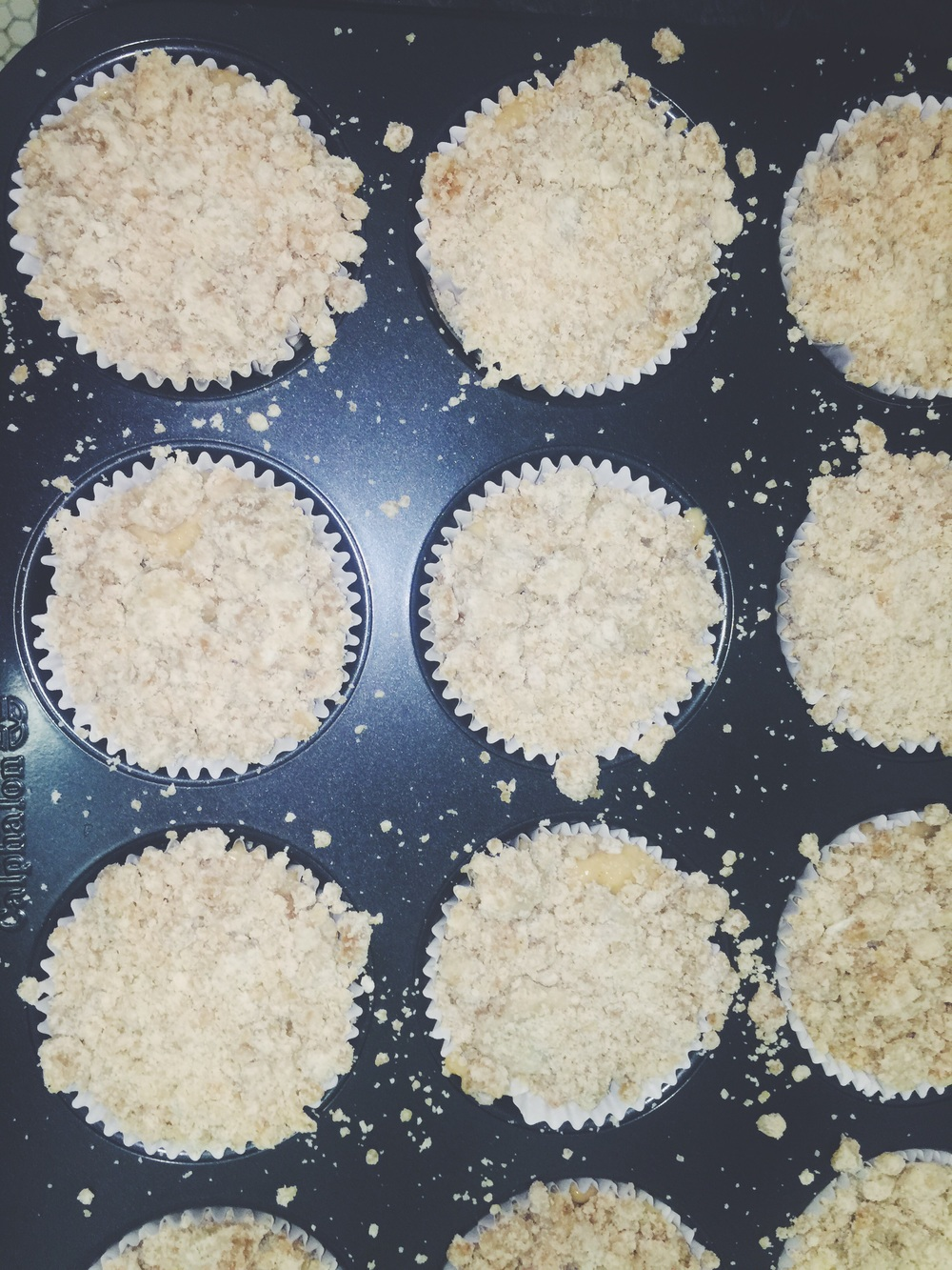 prepped coffee cake muffins