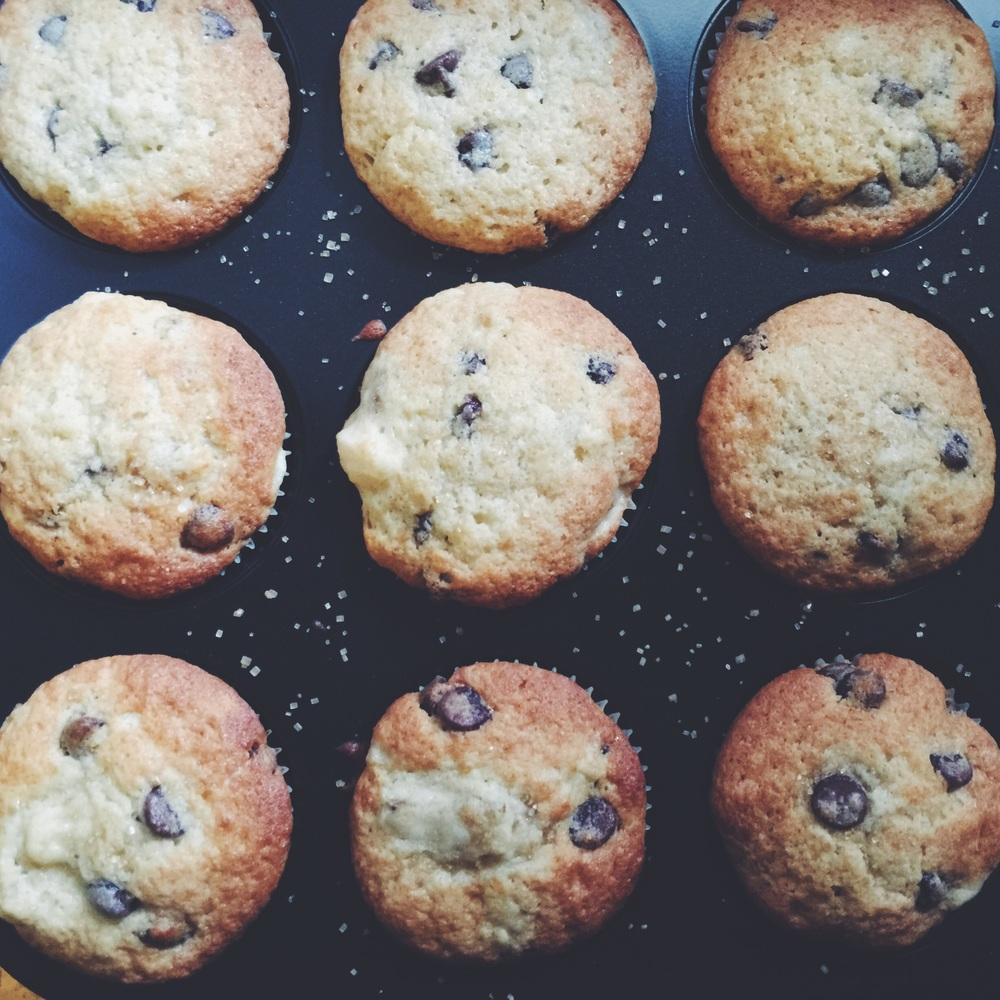 homemade banana chocolate chip muffins