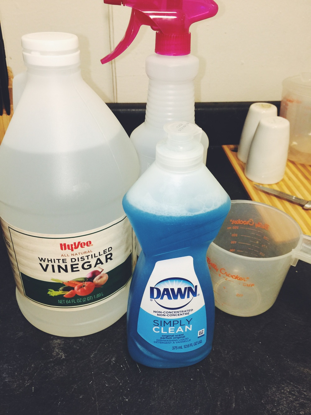ingredients for homemade all-purpose cleaning solution