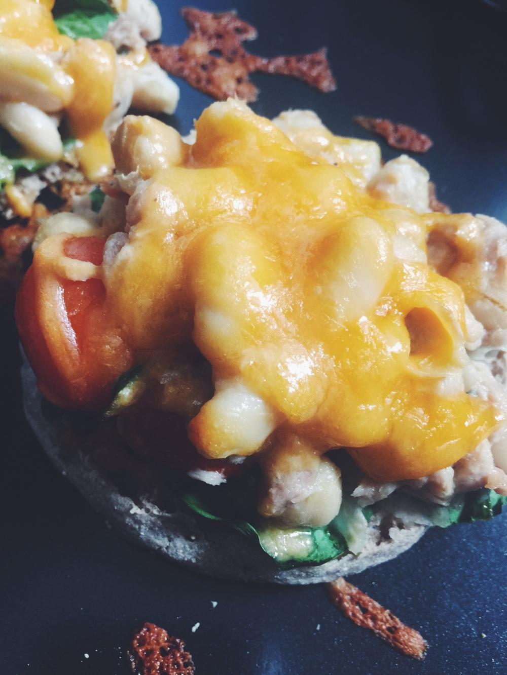tuna-bean salad melt on english muffin