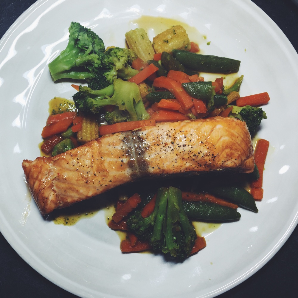 foil-baked asian salmon with veggies