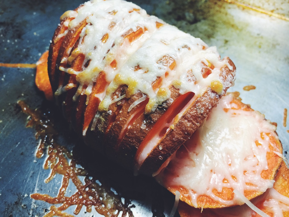 parmesan hasselback sweet potato