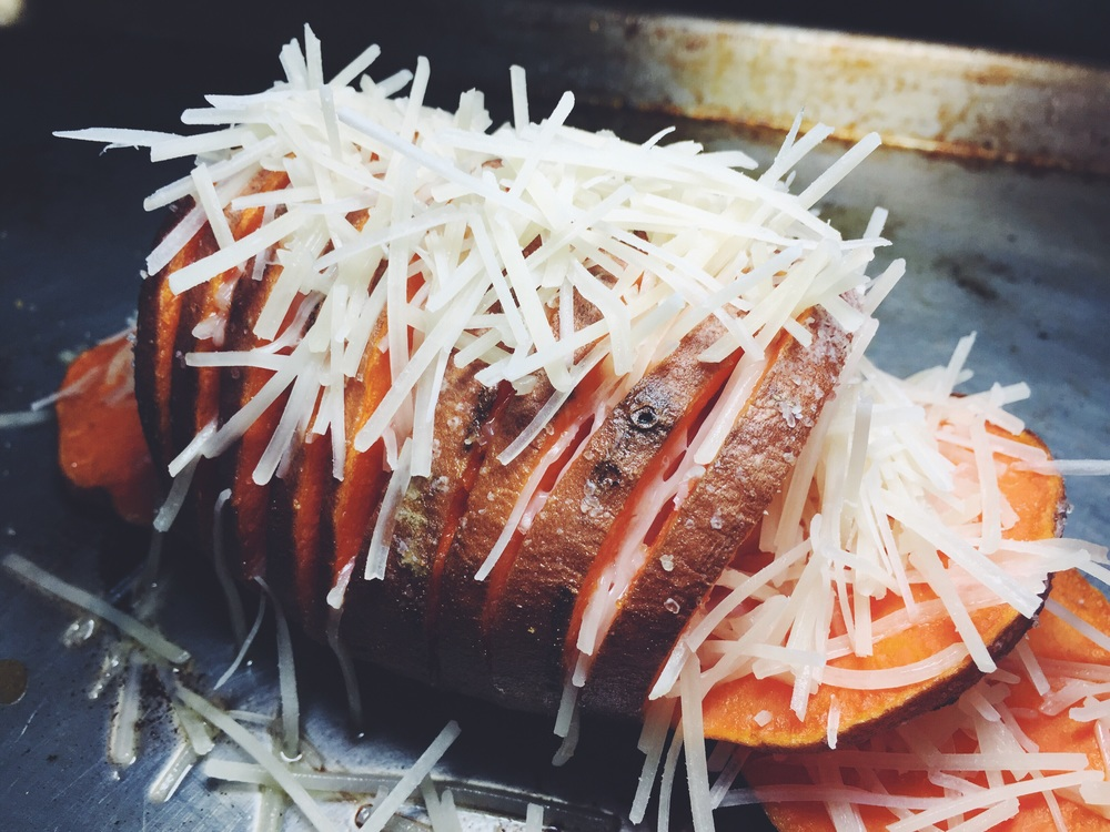 parmesan stuffed hasselback sweet potato