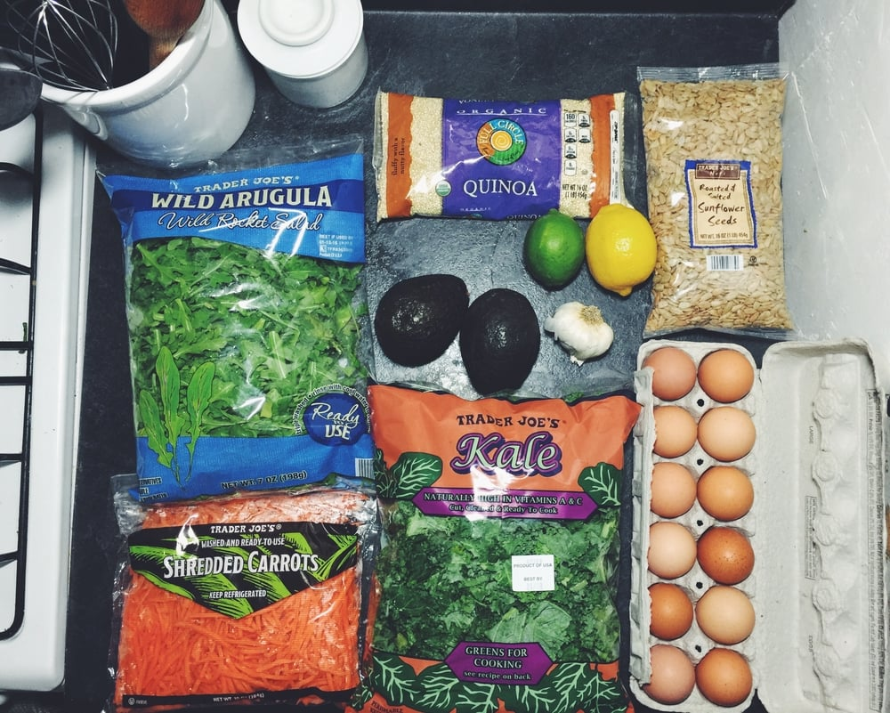 green + grain bowl meal prep ingredients