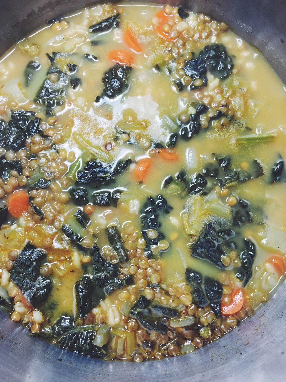 lentil-barley soup with kale