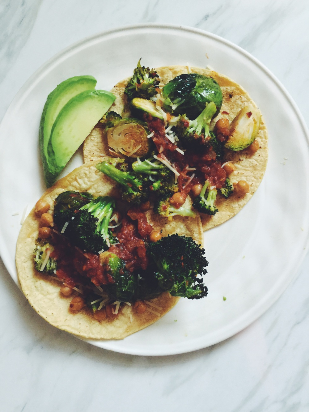 spicy veg + chickpea tacos