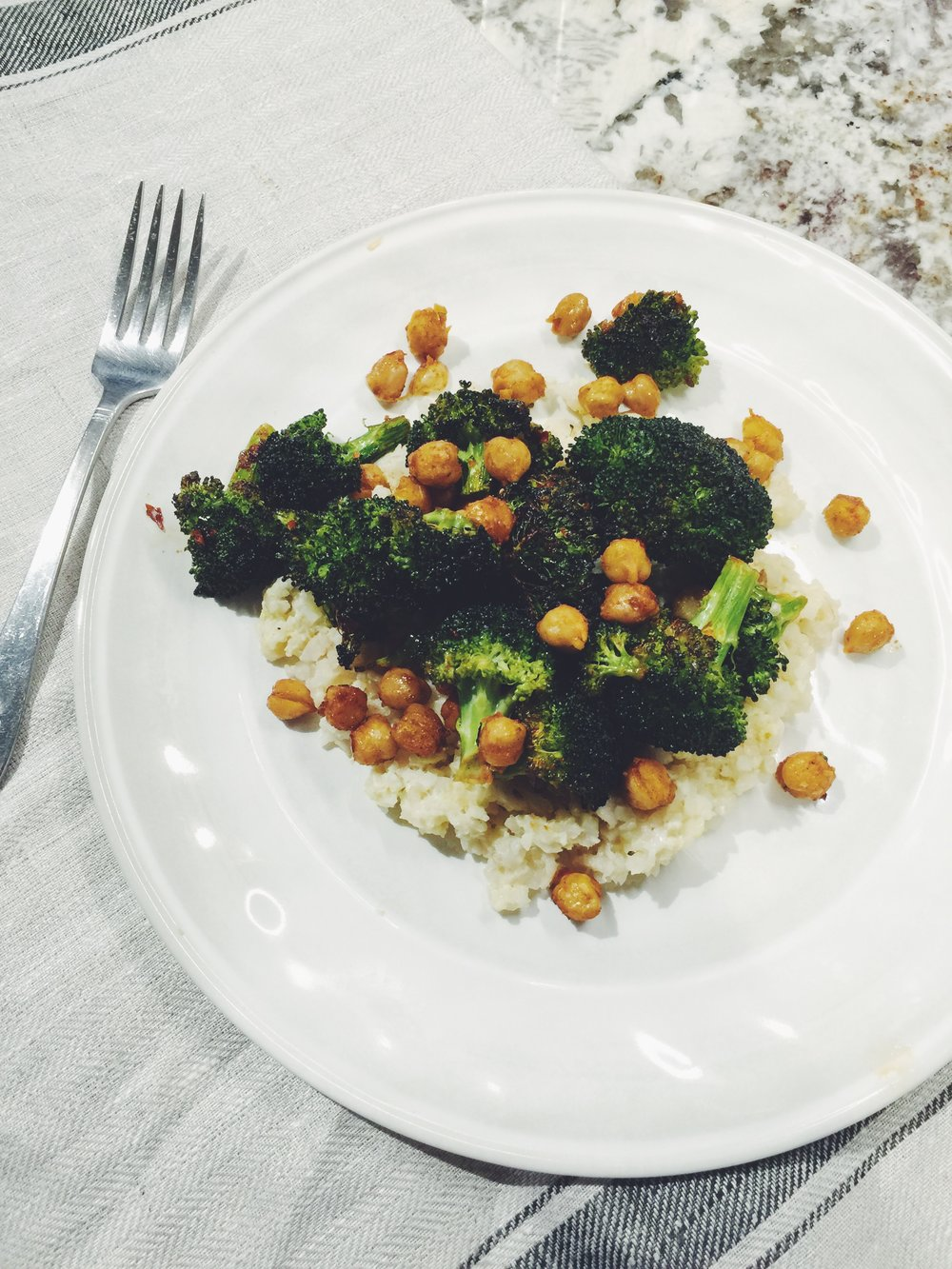 chili-glazed broccoli and chickpeas over cauliflower rice