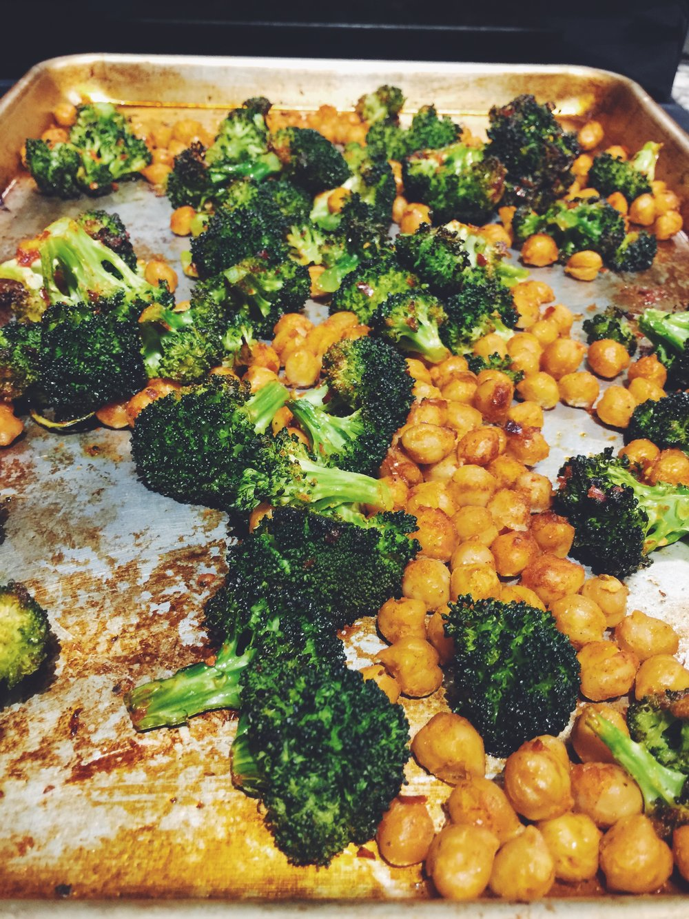 broccoli and chickpeas
