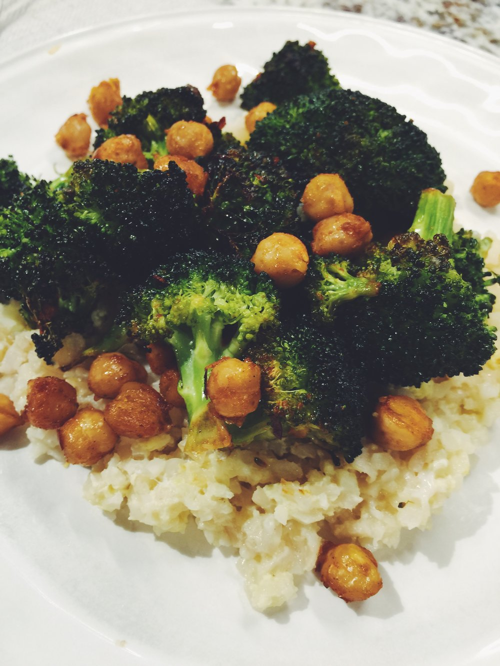 chili glazed broccoli and chickpeas