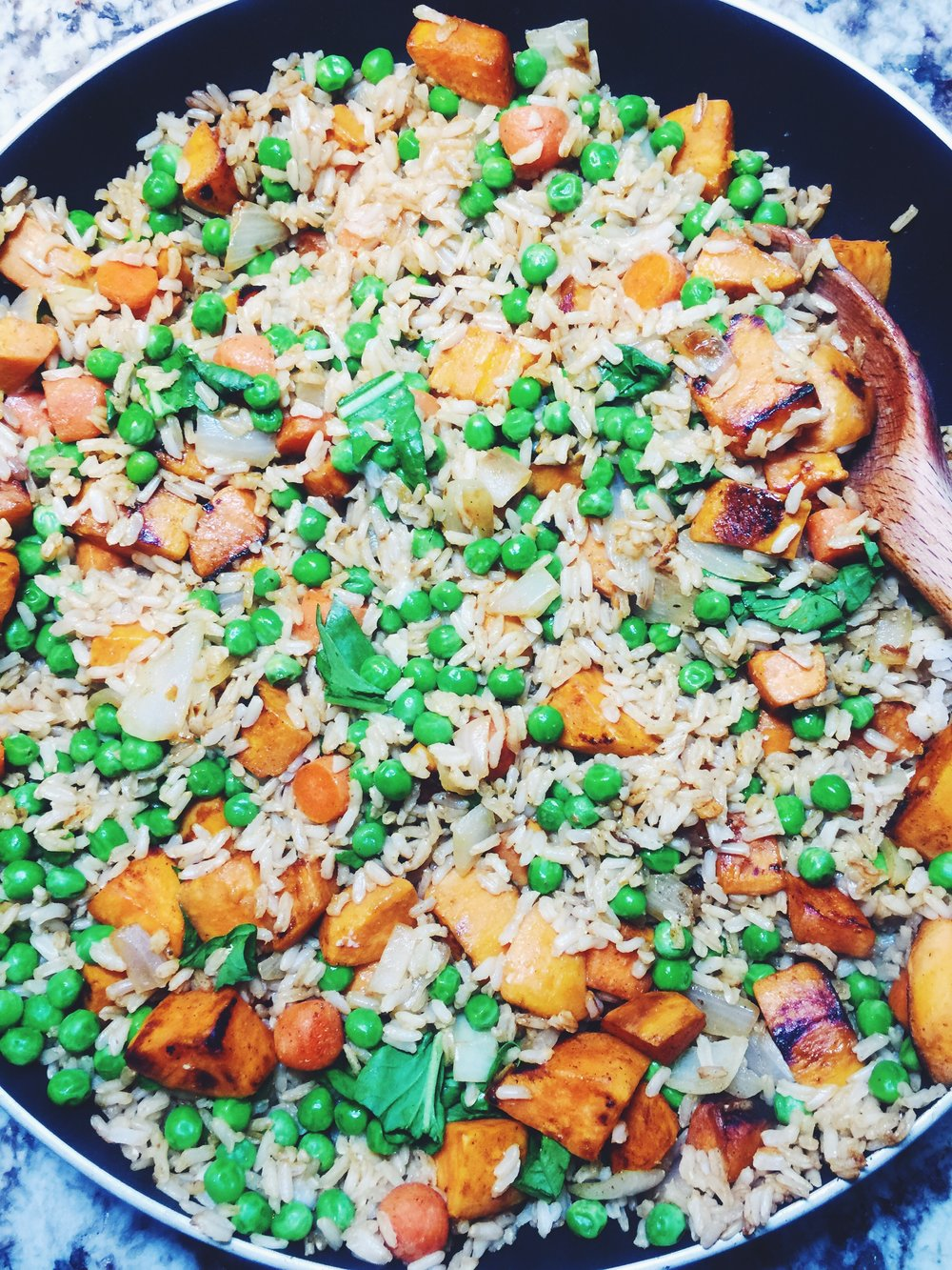 healthy sweet potato and pea fried rice
