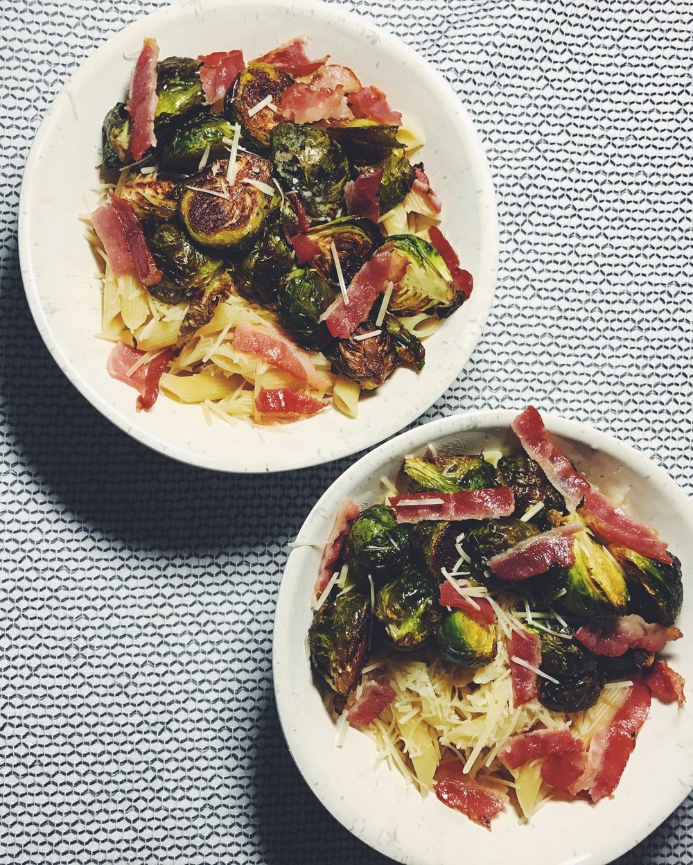 brussels sprouts pasta with bacon and parm