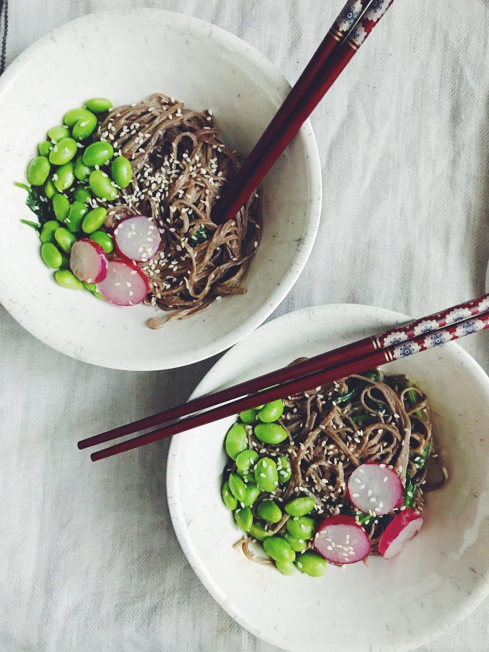 sesame peanut noodle bowls with edamame