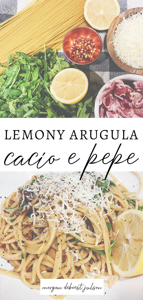 chrissy teigen cacio e pepe // lemony arugula cacio e pepe // easy pasta // cheesy pasta