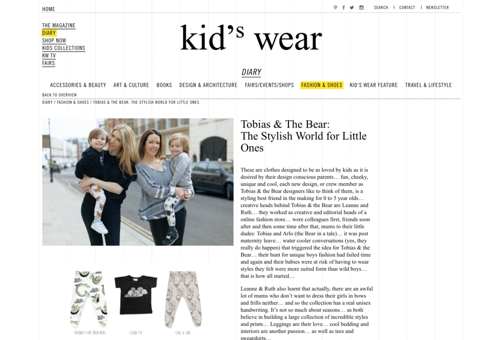 Kid'swear features Tobias & The Bear