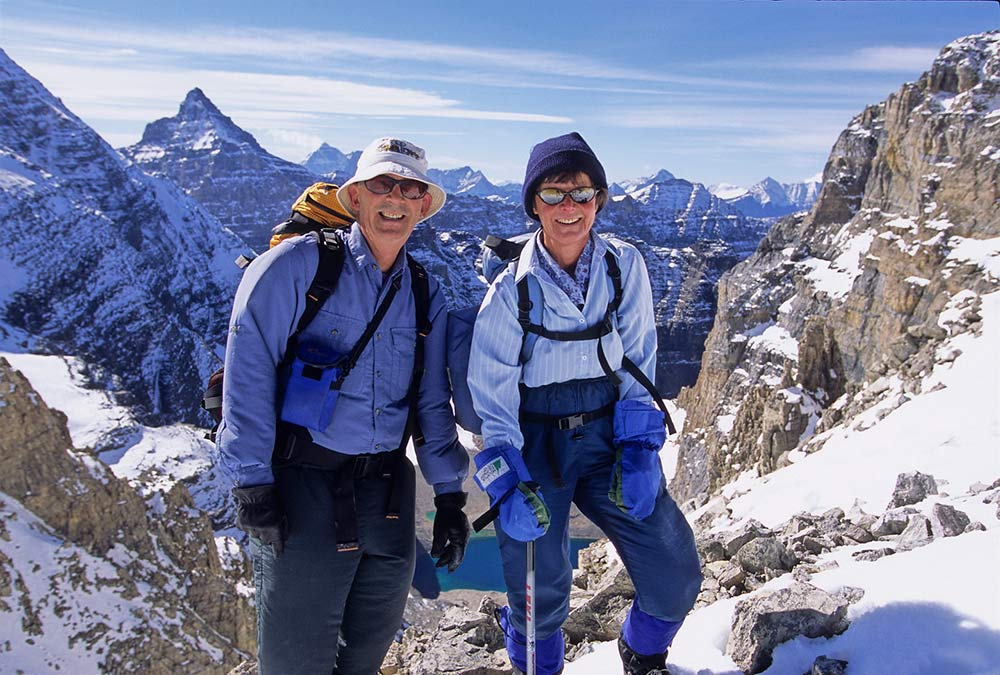 Avid hikers and explorers, Tony and Liz Fricke (pictured here at Abbot Pass in Alberta's Rocky Mountains) support the Nature Conservancy of Canada through its Leaders in Conservation program. Photo by A. Querner