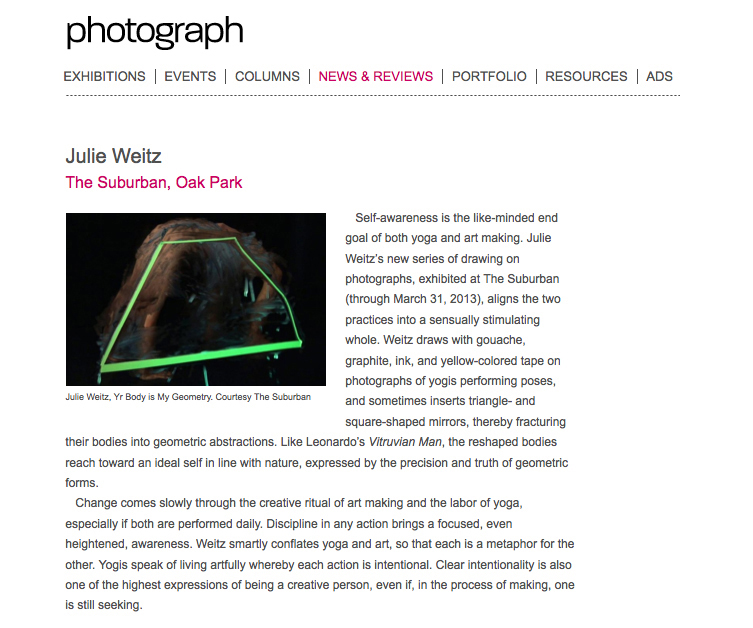 "Jason Foumberg, ""Julie Weitz, The Suburban, Oak Park, IL,"" Photograph Magazine, March 2013."
