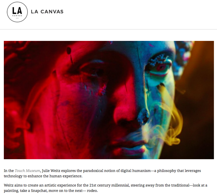"Picon, Jose, ""Cutting the Web: An Art Show for the Digital Age,"" LA Canvas, December 3, 2015."