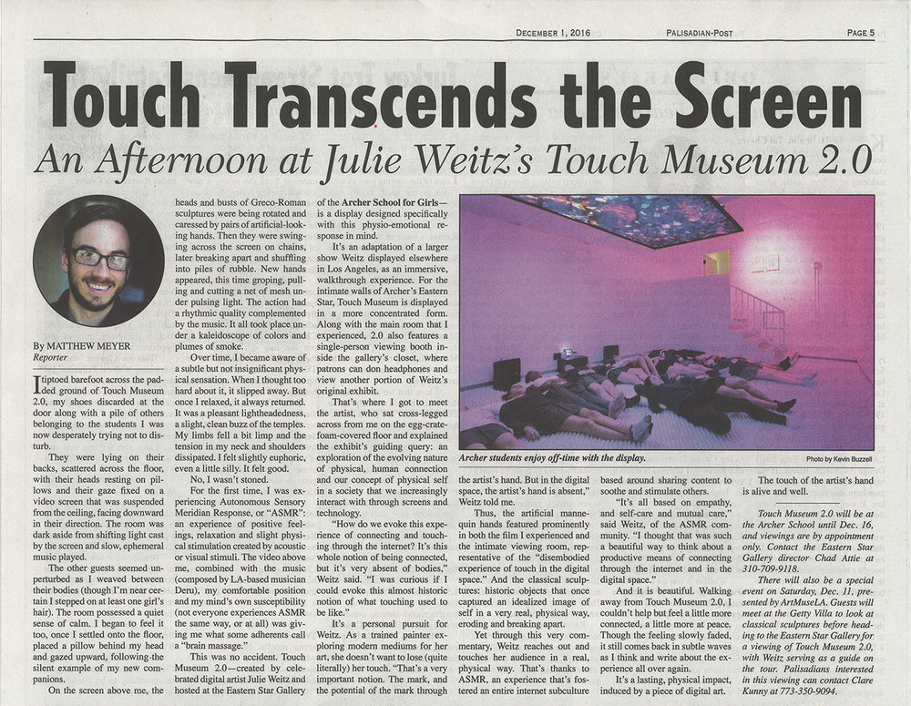 "Meyer, Matthew, ""Touch Transcends the Screen,"" Palisadian-Post, December 1, 2016."