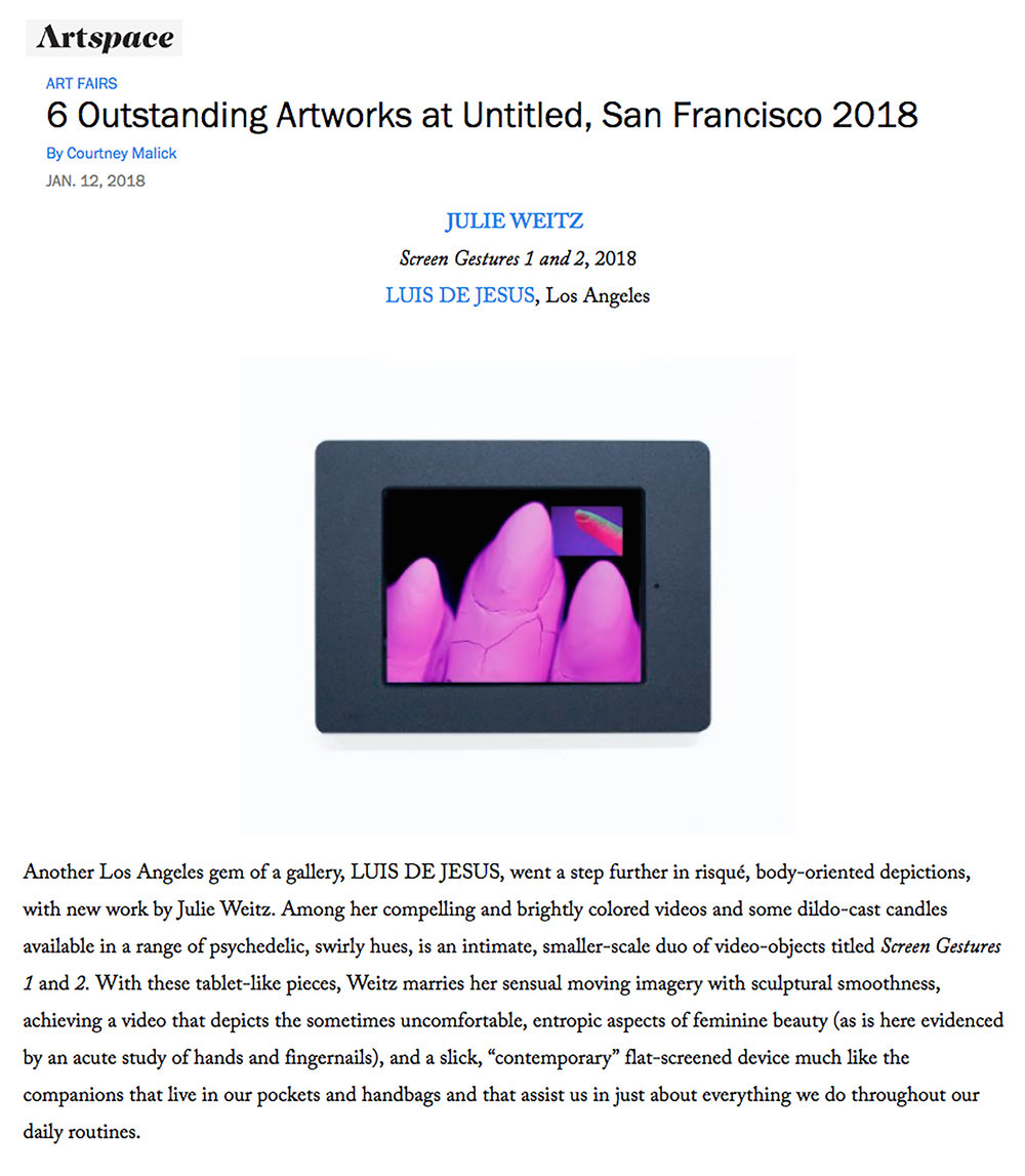 "Malick, Courtney, ""6 Outstanding Artworks at Untitled San Francisco 2018,"" Artspace, Jan 12, 2018."