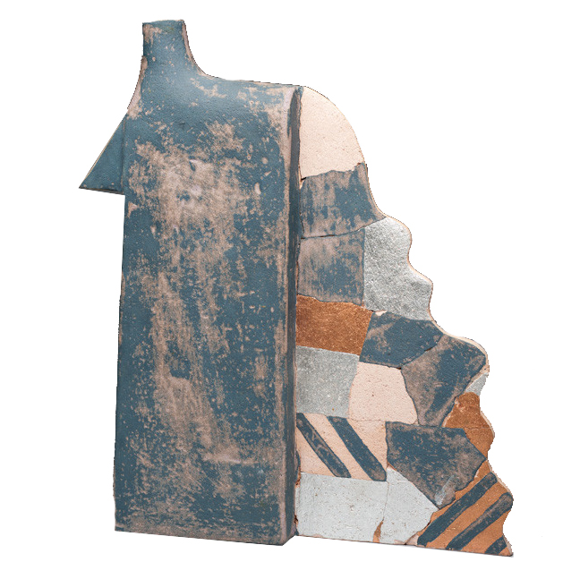 Rick Dillingham   Gas can, ceramic, copper and silver leaf   20.5 x 16 x 4""