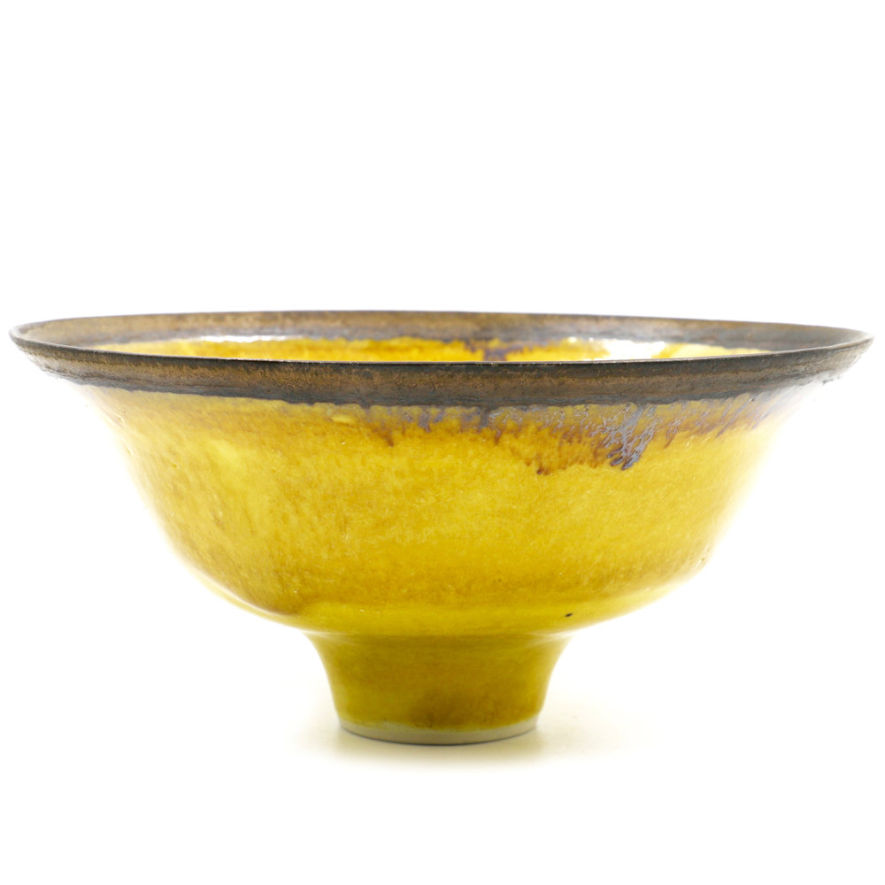 Lucie Rie   Rare uranium yellow bowl with bronze rim  7.75 x 7.75 x 3.8""