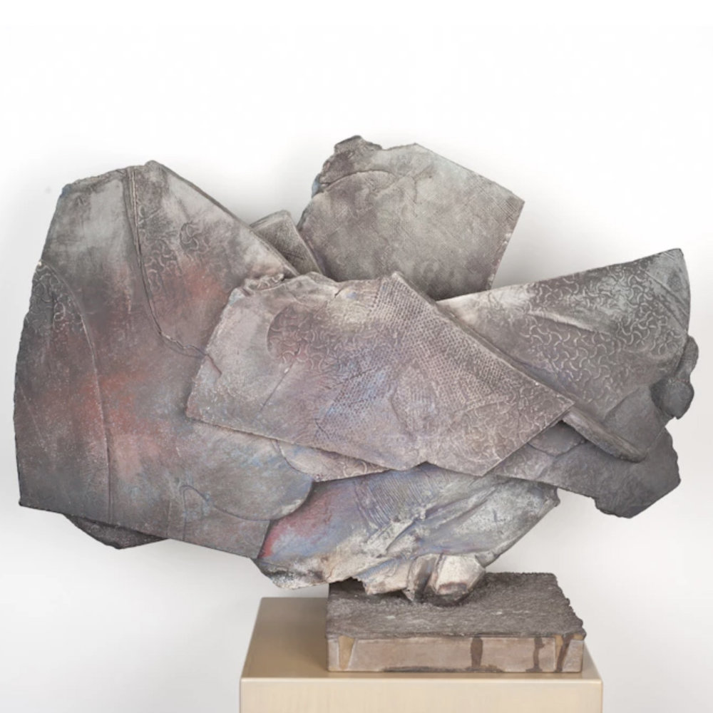 Paul Soldner   Iconic Sculpture, Low-salt, Raku Fired  24.5 x 33 x 12""