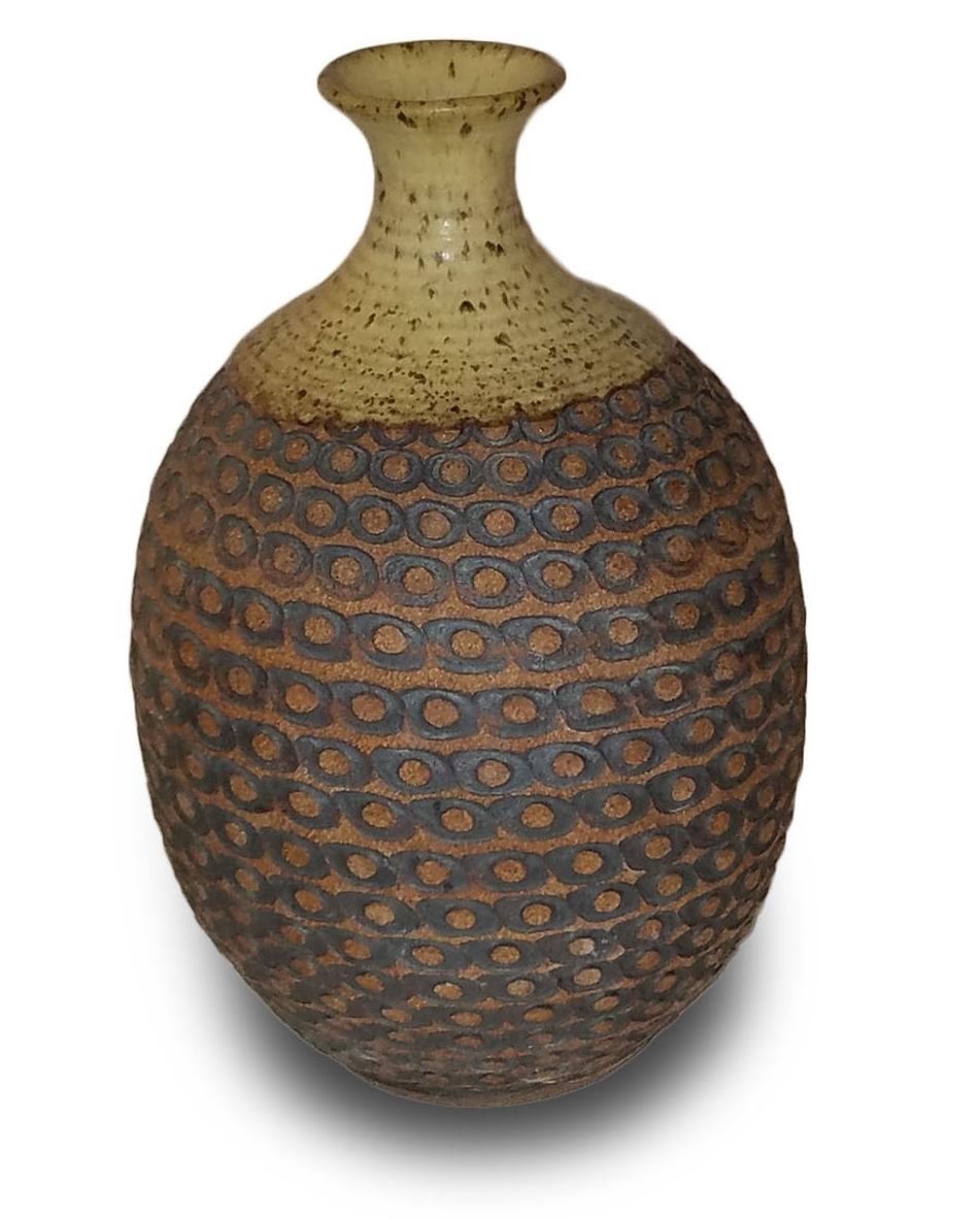 """- 005.14"""" tall, 6.5"""" wide, stoneware vase without bottom, texture wheel design, red iron oxide stain, green/gray matte glaze"""