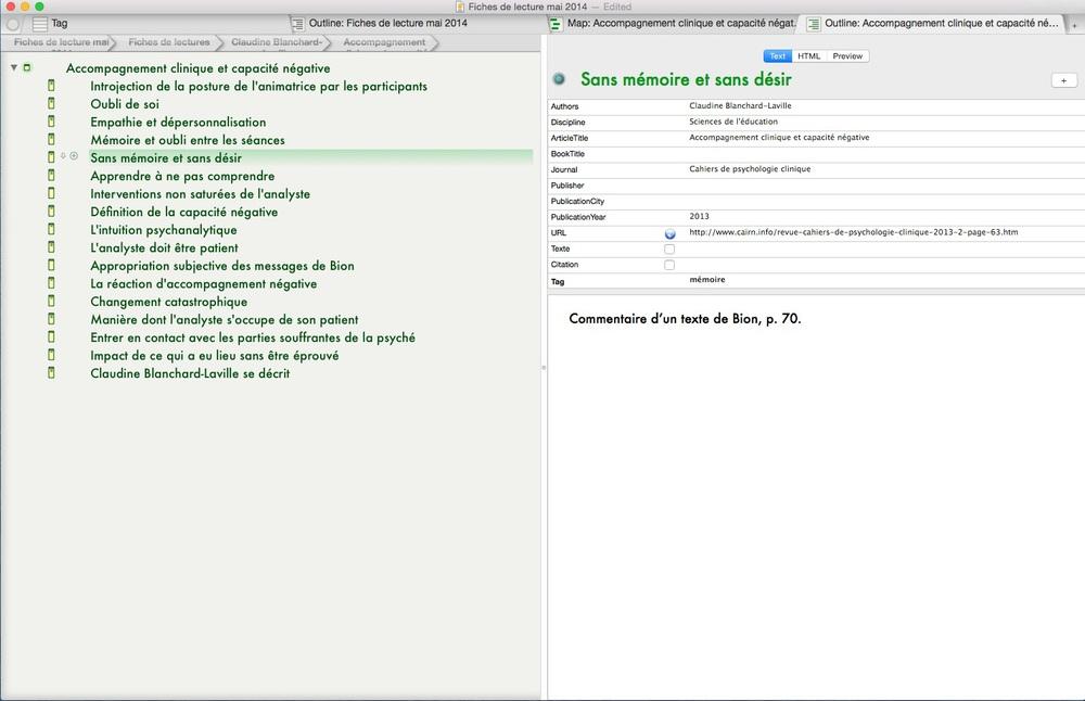 Une fiche de lecture électronique créée avec Tinderbox.