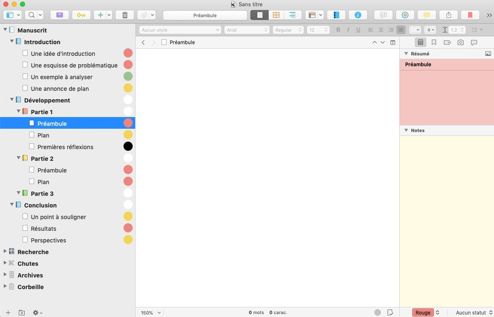 L'interface de Scrivener.