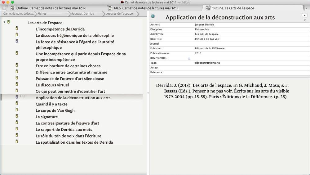 L'interface de Tinderbox et sa navigation par onglets.