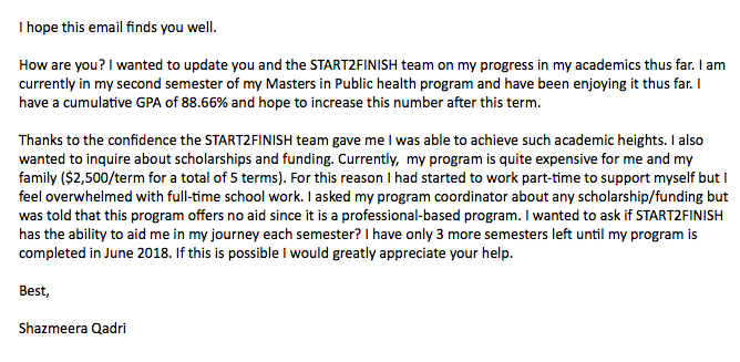 Note from Start2Finish Alumnus Shazmeera