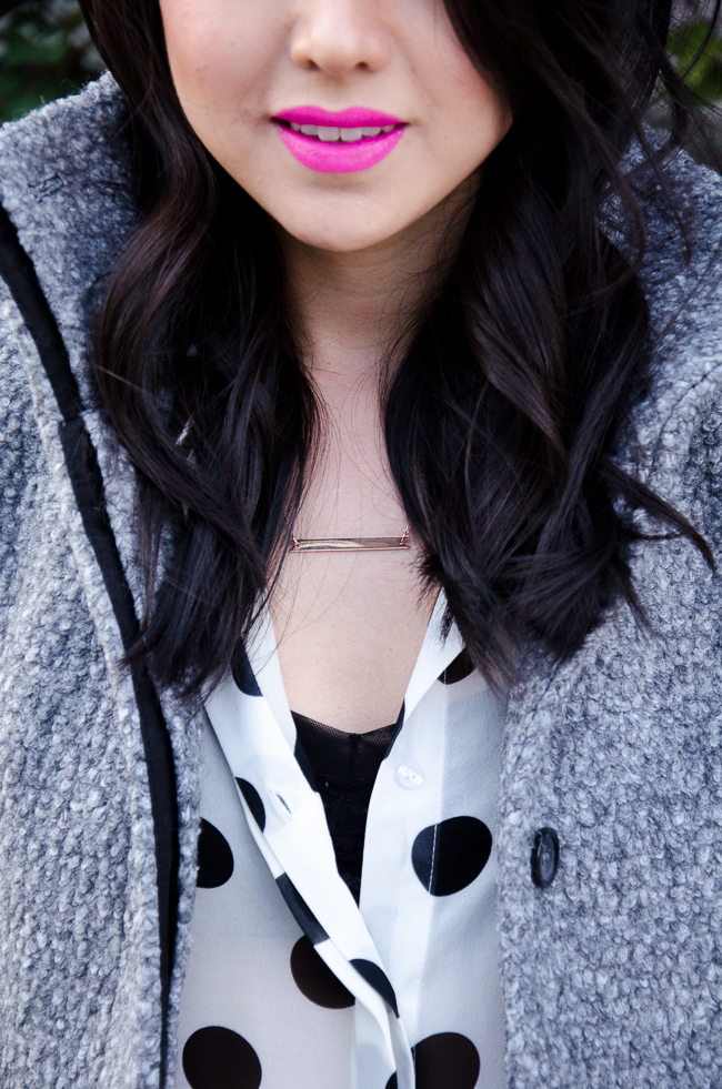 Kate Ogata of #thefancypantsreport wearing Brandy Pham Ribbon Bar Necklace | #brandypham #jewelry