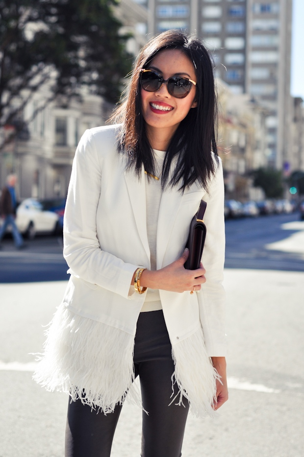 Anh from 9to5Chic wearing Brandy Pham Long Ribbon Bar Necklace
