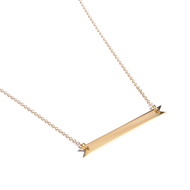 Brandy Pham 14k Gold Plated Long Ribbon Bar Necklace