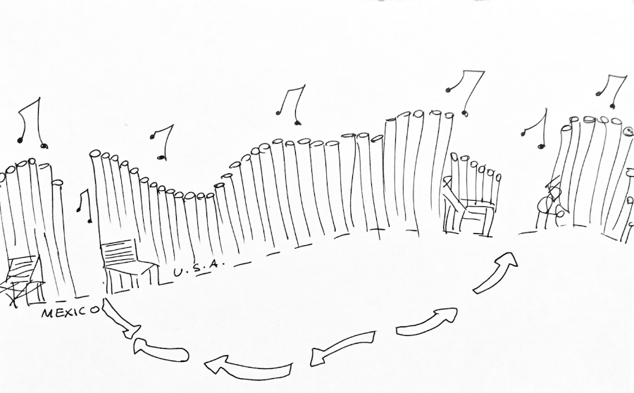 "J.M. Design Studio, ""Prototype #2: A Wall of Pipe Organs"" from  Border Wall Proposals  (2017) (all images courtesy J.M. Design Studio)      What do you envision along the border between the U.S. and Mexico? Independent artists and designers based in Pittsburgh working collectively as JM Design Studio (Tereneh Idia, Leah Patgorski, and Jennifer Meridian) present  ""The Other Border Wall""  exhibition. This exhibition is in opposition to Trump's Wall and the xenophobic hysteria of his administration. The show includes a growing archive of voices and visions connecting with new allies and partners along the border.  The Other Border Wall is an ongoing conversation that explores historic resorces, geography, and culture of the border region.  JM Design Studio's alternative visions of the border went viral and included a wall of hammocks, lighthouses, and pipe organs for an imagined border of safety, humanitarian relief, and creativity. Please contact us for a private viewing or keep updated on  Flatland Gallery's Facebook Page  for hours."