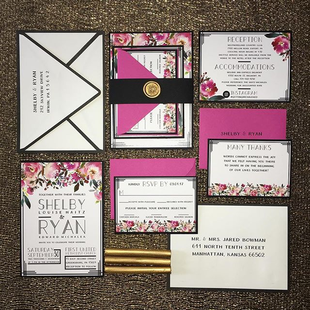 Black, bold lines, fuschia pink, and a little bit of gold🌟Everything you need for a moody, jewel-inspired, fall wedding🍁Shelby & Ryan - Westmoreland Country Club