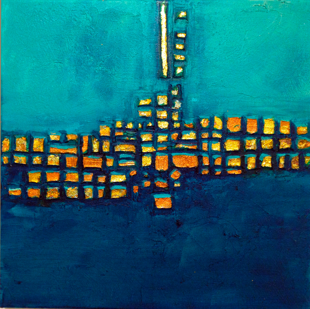 (SOLD) Small Teal City