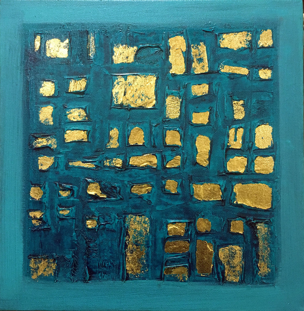 SOLD Teal grid - 10 x 10 Acrylic, Mixed Media and Gold Leaf on canvas