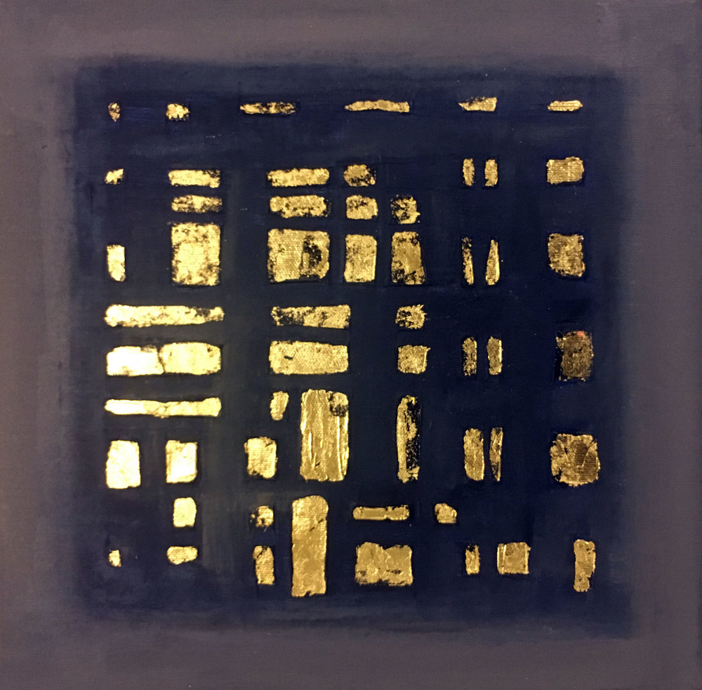 Navy Grid 12 x 12 Acrylic, Mixed Media and Gold Leaf on canvas