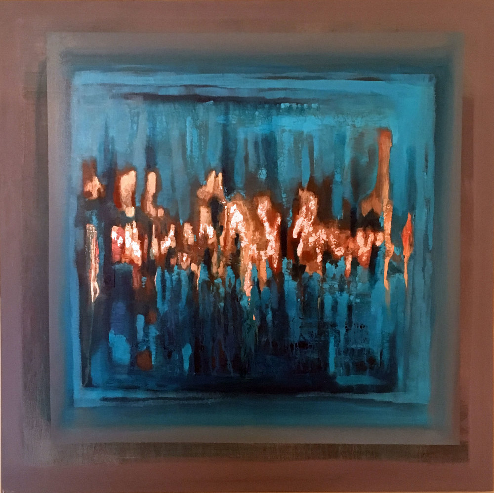Dance 30 x 30 Gold & Copper Leaf, Acrylic on Canvas