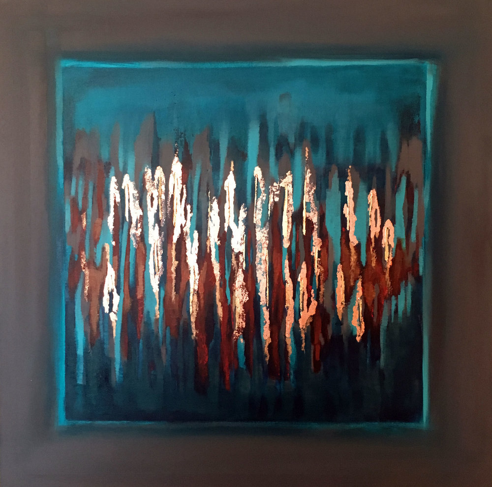 Kinetic 30 x 30 Gold & Copper Leaf, Acrylic on Canvas