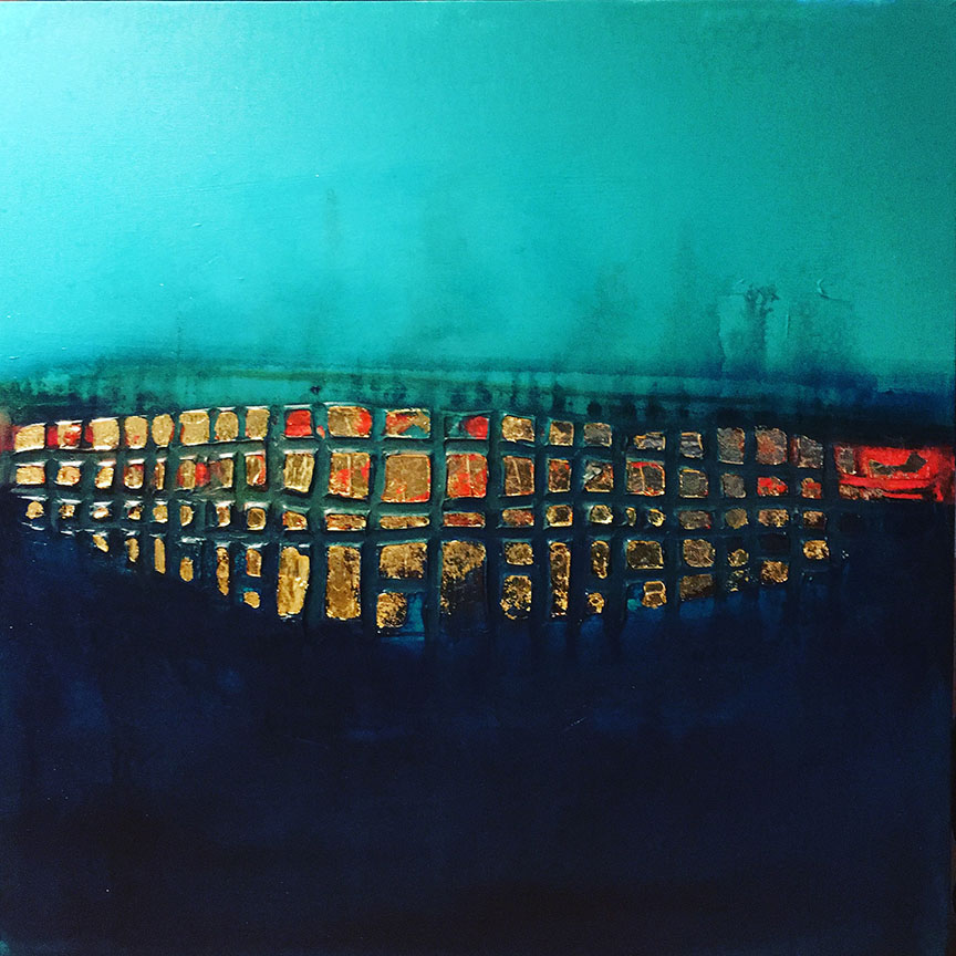 Distant City 20 x 20 Acrylic gold leaf on Canvas