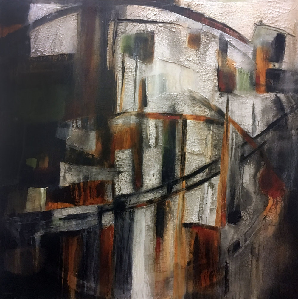 "Memory 30"" x 30""   Plaster, Oil, Acrylic Canvas"
