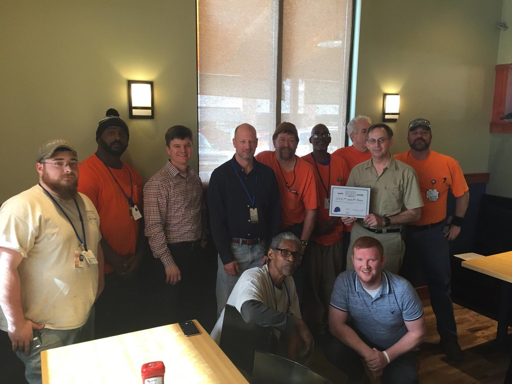Congratulations to our January safety award winners from the UVA 7th & 8th Floor project! -