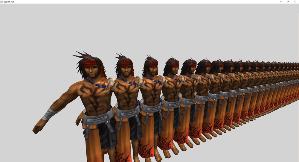 Finally got the model loaded correctly. This was a stress test to see how many I could draw on screen at once.