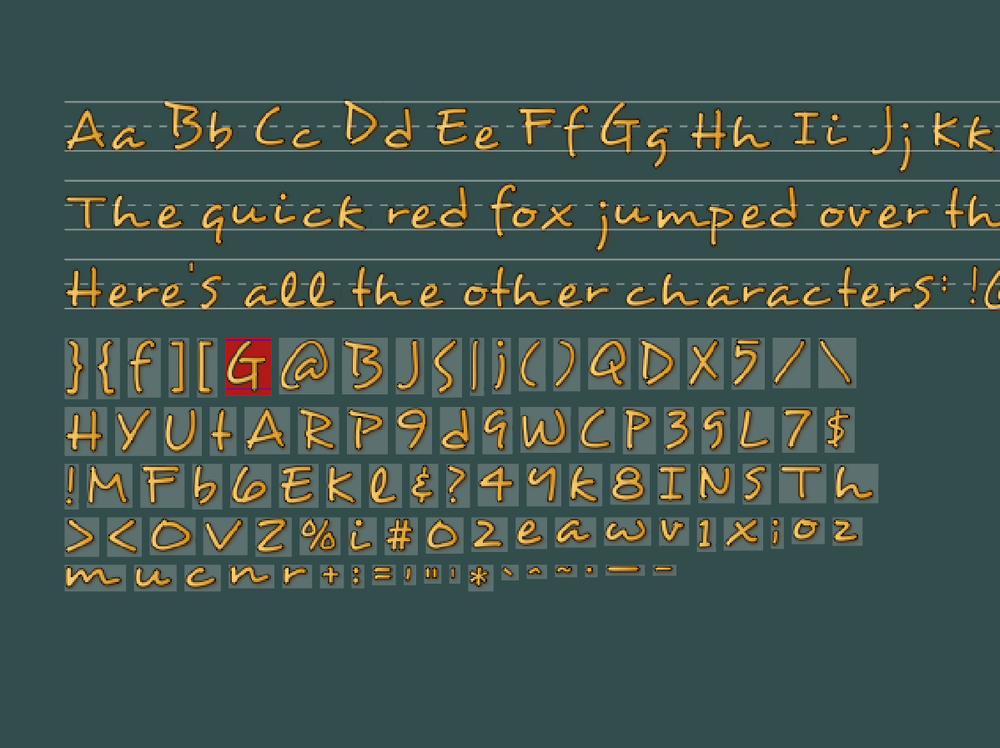 Added the ability to specify the width of each character so they fit together better when drawn in a word/sentence. Also added some alignment guides